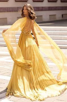 Tarik Ediz - 93919 Deep V-neck Embellished A-line Dress Gala Dresses, Prom Dresses Online, Pretty Dresses, Beautiful Dresses, Drape Gowns, Perfect Prom Dress, A Line Gown, Yellow Dress, Yellow Wedding Dresses