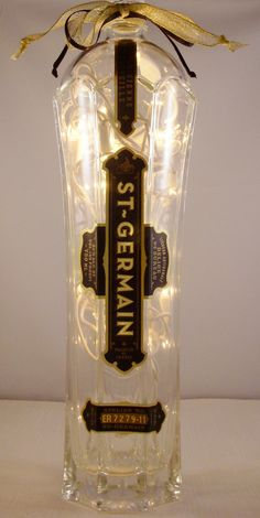 Recycled French Liqueur Bottle Lamp with Gold and by EcoArtbyNancy, $27.00