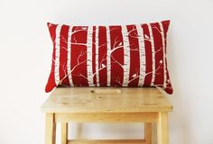 Bolster Cushion Cover  50cm x 30cm Red Birch Design by Mookah, $61.80 birches, birch pillow, bolster cushion, 50cm, cushion covers, birch design, birch cushion, red birch, 30cm red