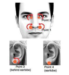 NARIZ ATASCADA: 1- Con el indice y el pulgar presiona en las aletas de la nariz en círculos unos 10 segundos  2- En los lacrimales de los ojos, de arriba a abajo de la cavidad ocular presionando con suavidad al entrar y como pellizcando la nariz al moverse hacia afuera  3- Repetir el movimiento en las orejas, en el espacio más fino entre el lóbulo y el cartílago  4- Lo mismo en la punta del lóbulo de la oreja  Visto en http://www.mind-energy.net  Enviado por alejocamaleon