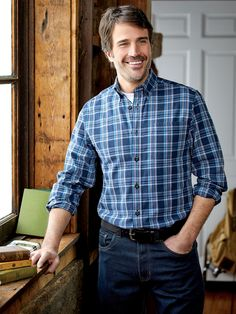 Our Cotton Blue Chip Plaid Shirt, a Year-Round Favorite of Guys Everywhere Casual Outfits, Men Casual, Country Men, Line Store, Blue Accents, Looks Great, Handsome, Plaid, Shirt Dress