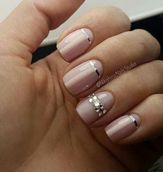 Beige dress nails Beige nails with rhinestones Body nails Calm nails design Cool nails Fall nail ideas Ideas of gentle nails Nail art stripes Nail Art Design Gallery, Best Nail Art Designs, Beige Nails, Nude Nails, Blush Nails, Nail Pink, Hair And Nails, My Nails, Nail Art Stripes