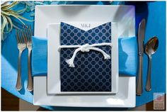 Love the square plates and blues for a Destination Wedding.