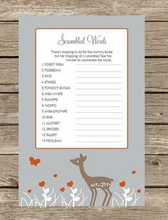 Scrambled Word Game: Another easy option to give guests as they enter or to leave at their place settings, a New Baby-Themed Scrambled Word Game ($10 for printable PDF) sparks conversation and can be completed at guests' leisure — no pressure if they'd prefer to just sit and chat.