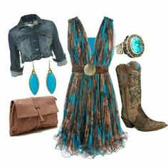 Country dresses - all sizes and colours Country Girls Outfits, Cowgirl Outfits, Cowgirl Style, Western Outfits, Western Wear, Cowgirl Dresses With Boots, Country Dresses With Boots, Cowgirl Clothing, Gypsy Cowgirl