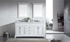 "Eviva Elite Stamford® 72"" White Solid Wood Bathroom Vanity Set with Double OG White Carrera Marble Top & White Undermount Porcelain Sinks"
