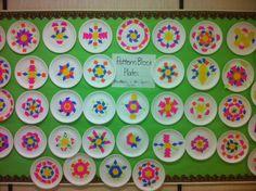 Symmetry: Pattern Block Plates -- Math Art Grade 2 (Do this but take photos of the actual blocks instead of gluing paper) Math Art, Fun Math, Math Activities, Symmetry Activities, Grade 2 Patterning Activities, Patterning Kindergarten, Math Enrichment, Spring Activities, Math Resources