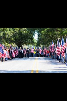 A section of the 'Human Wall' lining the streets of Wilmington, NC in support of Sgt TJ Butler as he was laid to rest 10/12/12