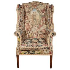 Late 18th C George Iii Needlework Upholstered Wingback Armchair