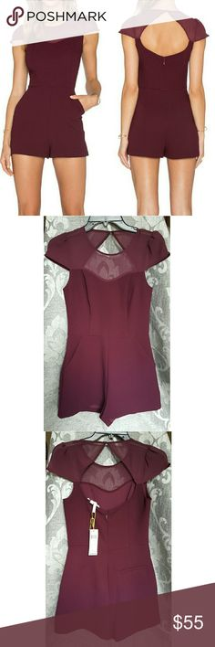 BCBGeneration Chiffon Yoke Romper Size 2! NWT BCBGeneration Chiffon Yoke Romper in deep maroon! Perfect color for this winter! Wear with heels or knee high boots for a fun flirty look! BCBGeneration Dresses