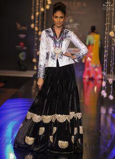 Black and White Lehenga Set in Raw Silk and Velvet combo from Soucika by Kamal Raj Manickath! #Soucika #Lehenga #BFW14
