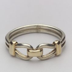 14k Gold and Sterling Silver Bit Band Ring