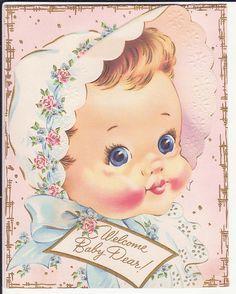 Vintage New Baby Card Images Vintage, Vintage Pictures, Baby Images, Baby Pictures, Vintage Greeting Cards, Vintage Postcards, Welcome New Baby, Baby Illustration, Old Cards