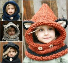 We have rounded up a collection of gorgeous Crochet and Knitted Cowls Patterns that you won't want to miss and we have a Fox Hooded Cowl Free Pattern too. Crochet Buttons, Cute Crochet, Crochet For Kids, Crochet Baby, Knit Crochet, Easy Crochet, Knitting Projects, Crochet Projects, Knitting Patterns