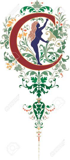 Estilo de la fantasía, Inglés alfabeto, Letra C, de color libres de derechos gratis, Retratos, Imágenes Y Fotografía Ilustración. Pico 23262806.