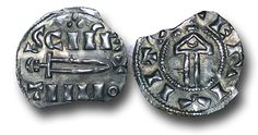 Viking coins, York, UK. This iconic coinage is now thought to date to the period following Regnald's (c.919-c.921) death, most likely struck, albeit anonymously, during the reign of Sihtric (I) Coach. With it's mixing of pagan and Christian references, the name of the first apostle and Thor's hammer and sword, this coinage reflects the competing influences within Viking culture at the time.