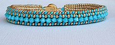 SALE beadwork bracelet turquoise and gold by beadnurse on Etsy