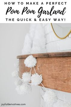 room Make a Perfect DIY Pom Pom Garland in 10 Minutes! - Joyful Derivatives A simple and easy tutorial for making a yarn DIY pom pom garland to add a bit of festive flair to your decor or party in just 10 minutes! Diy Christmas Garland, Halloween Christmas, Diy Christmas Room Decor, Christmas Decorations, Diy Home Decor For Apartments, Pom Pom Garland, Yarn Pom Poms, Diy Yarn Garland, Party Garland