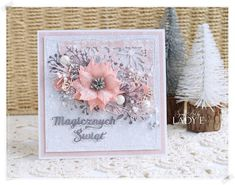 Card christmas flower poinsettia pink grey silver white ----------------- Rosy Owl: Szaro Brzoskwiniowe Święta / Christmas in Grey & Peach