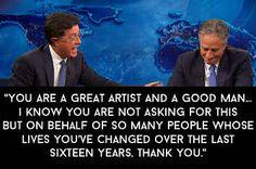 "Stephen Colbert's Speech Was The Most Touching Part Of Jon Stewart's Final ""Daily Show"""