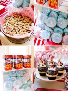 Circus Themed First Birthday Party: Serve snacks like cotton candy, peanuts, cupcakes, and Cracker Jacks