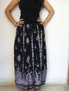 Indian Maxi Skirt Gypsy Skirt Bohemian Skirt Long by JustCottons, $28.00