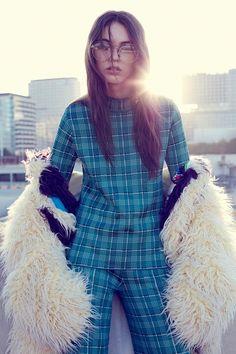 Anisia Khurmatulina models Tsumori Chisato coat, M Missoni top and trousers with Gucci glasses. Photo: Vladmir Marti