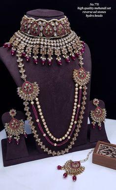Rs4800+$ Restocked Minibridal set with reverse adstone mehendi plated Indian Bridal Photos, Indian Bridal Jewelry Sets, Indian Jewelry, Bridal Jewellery, Bridal Necklace Set, Bridal Bangles, Bridal Earrings, Gold Jewellery Design, Bangle Set