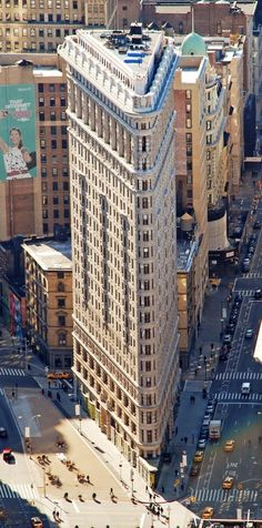 Flatiron Building also known as the Fuller Building. It can be found in Manhattan, New York and it's a spectacular skyscraper. The construction on the building was completed in 1902 and back then it was one of the tallest buildings in the city. The name of the building makes reference to its resemblance to a cast-iron clothes iron.