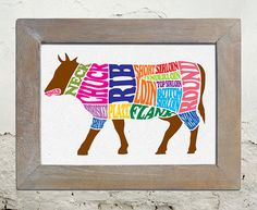 Beef Cattle Meat 13x19 Art Print by theminifab on Etsy, $19.00