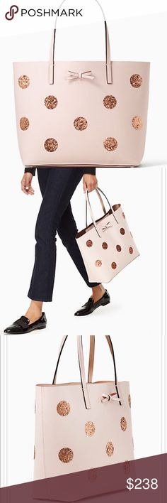 "Kate Spade large leather tote Brand new with tag. Light pink Smooth leather with glitter polka dots. Has inside zipper pocket. Unlined. 14W x 11.5"" H x5.5"" D. No trades  kate spade Bags Totes"