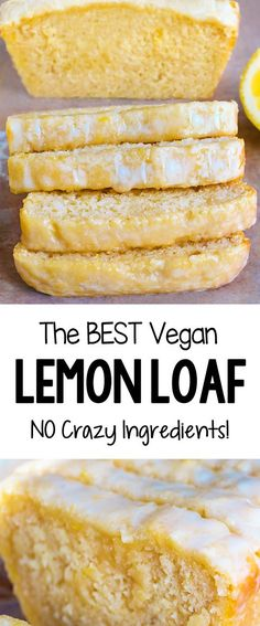 snacks EASY Soft Moist Delicious Vegan Lemon Loaf Cake Recipe Light, soft, and irresistibly moist, this super delicious vegan lemon bread is sure to be a hit with friends and family for a healthy breakfast or dessert Desserts Végétaliens, Desserts Sains, Vegan Dessert Recipes, Easy Cake Recipes, Healthy Desserts, Vegetarian Desserts, Vegan Lemon Desserts, Healthy Lemon Desserts, Vegan Lemon Cake