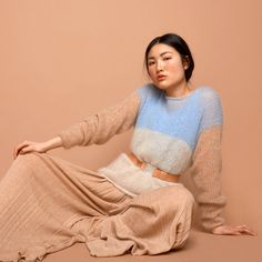 knit sweater pale blue cream camel SABRINA WEIGT by SABRINAWEIGT