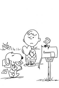 valentines day peanuts charlie brown snoopy and valentines coloring page