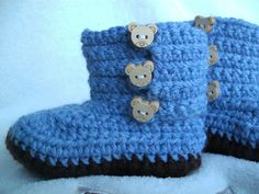 Archie bear baby booties, baby shoes 3-6 months  £6.00