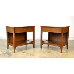 Broyhill Brasilia Walnut and Brass Nightstands or Side Tables - a Pair | Chairish
