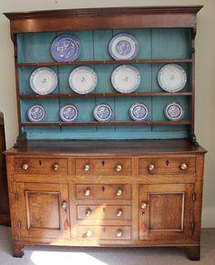 "A Lovely George IV Oak Dresser With Plate Rack, Circa 1820 England. 80""H x 61.5""W x 19.25""D."