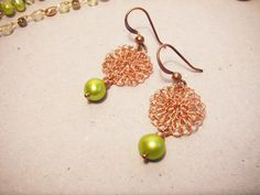 Crochet Earrings-Copper Wire-Dangle Pearl Earrings-Lace Wire -Pearl Jewelry-circle earrings -Israel art. $36.00, via Etsy.