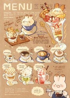 Cute Food Drawings, Cute Kawaii Drawings, Arte Do Kawaii, Kawaii Art, Aesthetic Food, Aesthetic Anime, Cute Food Art, Cafe Food, Food Menu