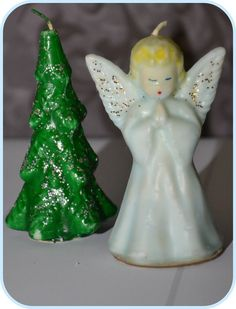 Gurley Blue Angel and Christmas Tree Candles.