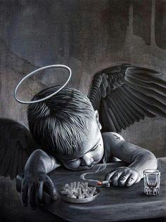 Biker baby boy Angel & little bit Devil Chicano Tattoos, Chicano Art, Body Art Tattoos, Tattoo Drawings, Sleeve Tattoos, Art Drawings, Tatoos, Skull Tattoos, Fantasy Kunst