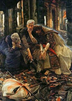 Jesus comforting the homeless, Ruins by James Tissot, 1900