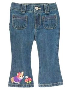 NWT BABY GAP GIRLS DENIM JEANS STRETCH CROP embroidered flowers  u pick size