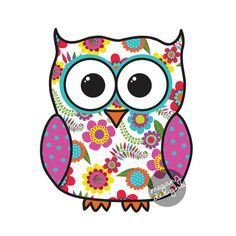 Colorful Floral Owl Car Decal Sticker: Cute Owl Bumper Sticker Laptop Decal Pink Yellow Blue Orange