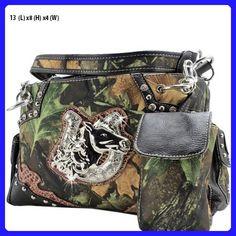 40ee10771e Womens Western Camo Camouflage Handbag Horse Shoe Rhinestone Cowgirl Bling  New