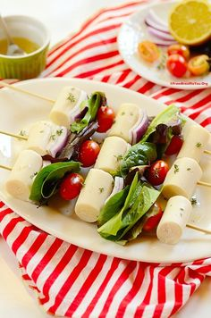 Heart of Palm Salad Skewers- A fun way to serve a great salad! LOW in CALORIES and HIGH in FIBER. It can be served as a snack or side dish for a summer barbecue.