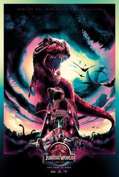 The story is based on a dinosaur which is created at Jurassic World, which is a theme park, located on an island, called Isla Nublar, which was the site of the original Jurassic Park. The Jurassic World contain so many species of Dinosaurs' clones. Jurassic World Movie Poster, Jurassic World Park, Jurassic Park Poster, Jurassic World Dinosaurs, Movie Poster Art, Fan Poster, Jurrassic Park, Michael Crichton, Image Film