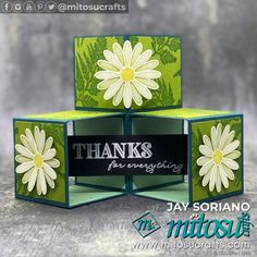 Stampin Up Daisy Lane and Ornate Thanks 3D Cube Pop Up Box Card Idea by Jay Soriano | Mitosu Crafts UK Fancy Fold Cards, Folded Cards, Pop Cubes, Craft Supplies Online, Pop Up Box Cards, Chalk Markers, Card Tutorials, Pattern Paper, Stampin Up