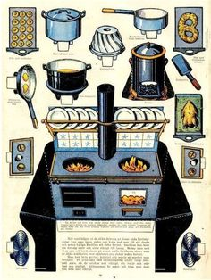 Vintage paper doll house kitchen range - Yahoo Image Search Results