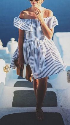 Christie Striped off the shoulder Dress from Gal Meets Glam; Gal Meets Glam, Inspiration Mode, Look Vintage, Vintage Dress, Up Girl, Girly Girl, Striped Shorts, Striped Outfits, Striped Dress Outfit